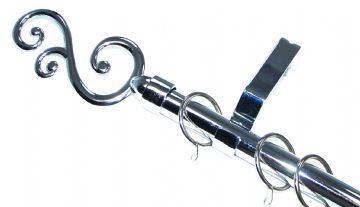 19mm Polished Chrome Curtain Pole System Smooth Swirl Finials 1.2m 1.5m 2.4m 3m